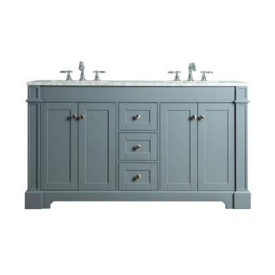Seine 60 in. W x 22 in. D Bath  Vanity in Gray with Marble Vanity Top in Carrara White with White Basin