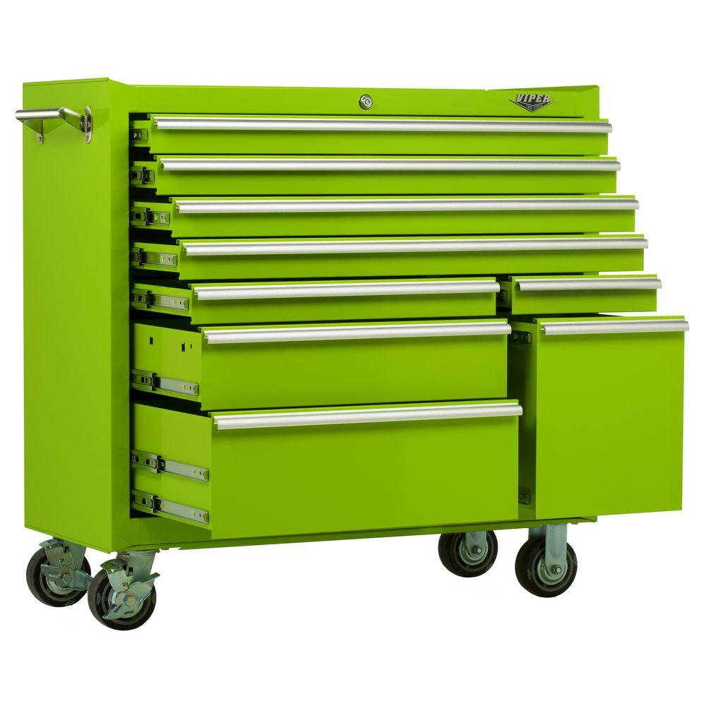 Viper Tool Storage 41 in. 9-Drawer Cabinet in Lime Green