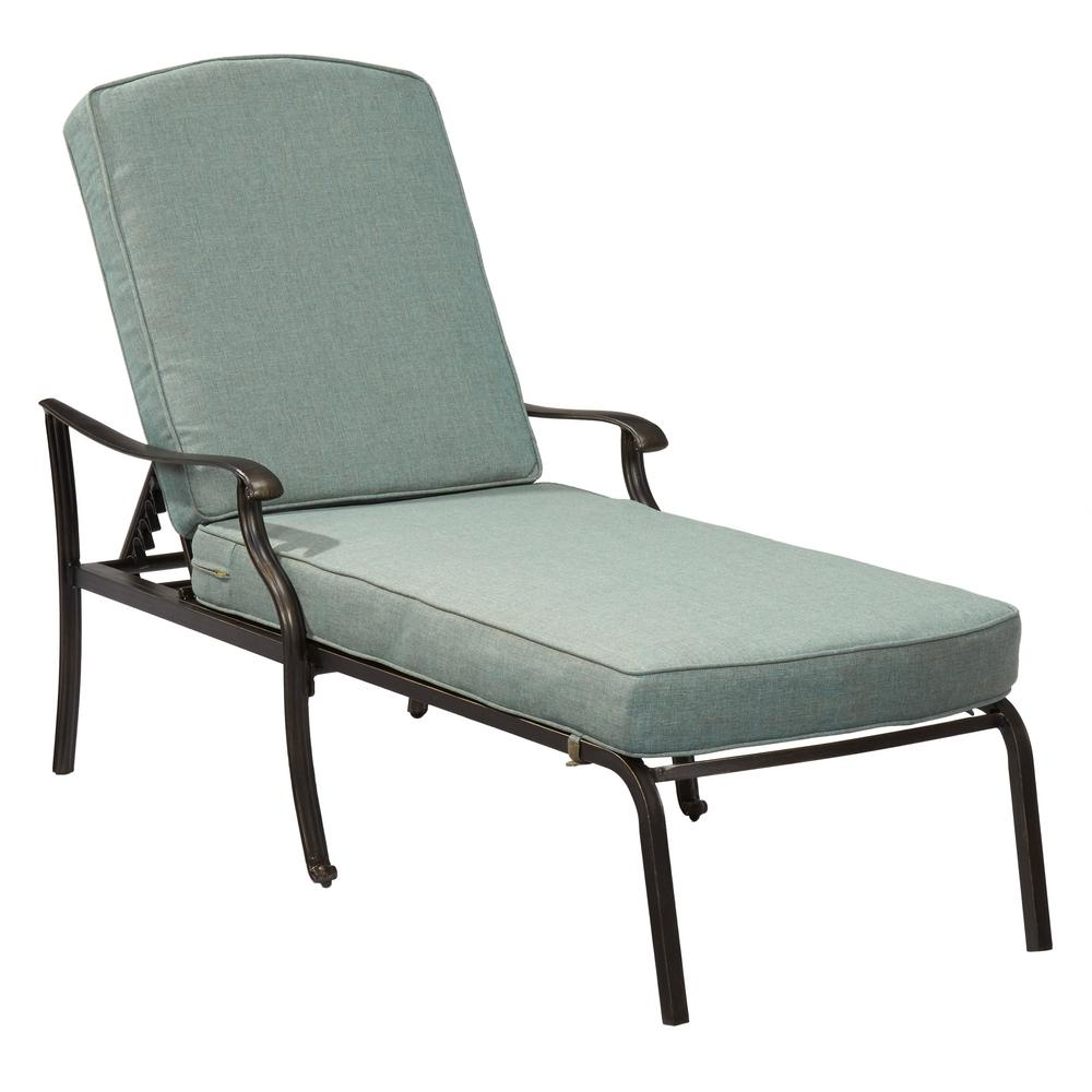 hampton bay belcourt metal outdoor chaise lounge with spa cushions d11334 c the home depot. Black Bedroom Furniture Sets. Home Design Ideas