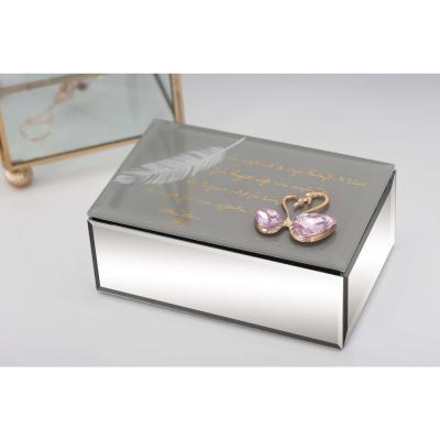 Modern Mirror Jewelry Box with Swan Accents in Gray