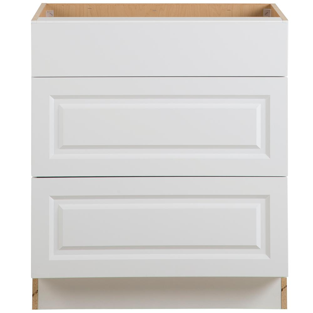 Benton Assembled 30x34.5x24.5 in. Base Cabinet with 3-Soft Close Drawers in