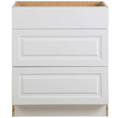 Benton Assembled 30x34.5x24.5 in. Base Cabinet with 3-Soft Close Drawers in White