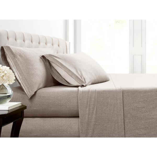 Mhf Home Cotton Blend Taupe Jersey Queen Sheet Set