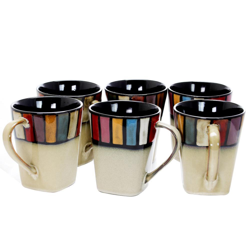 Melange 14 oz. MultiColored Stoneware Mug (Set of 6)