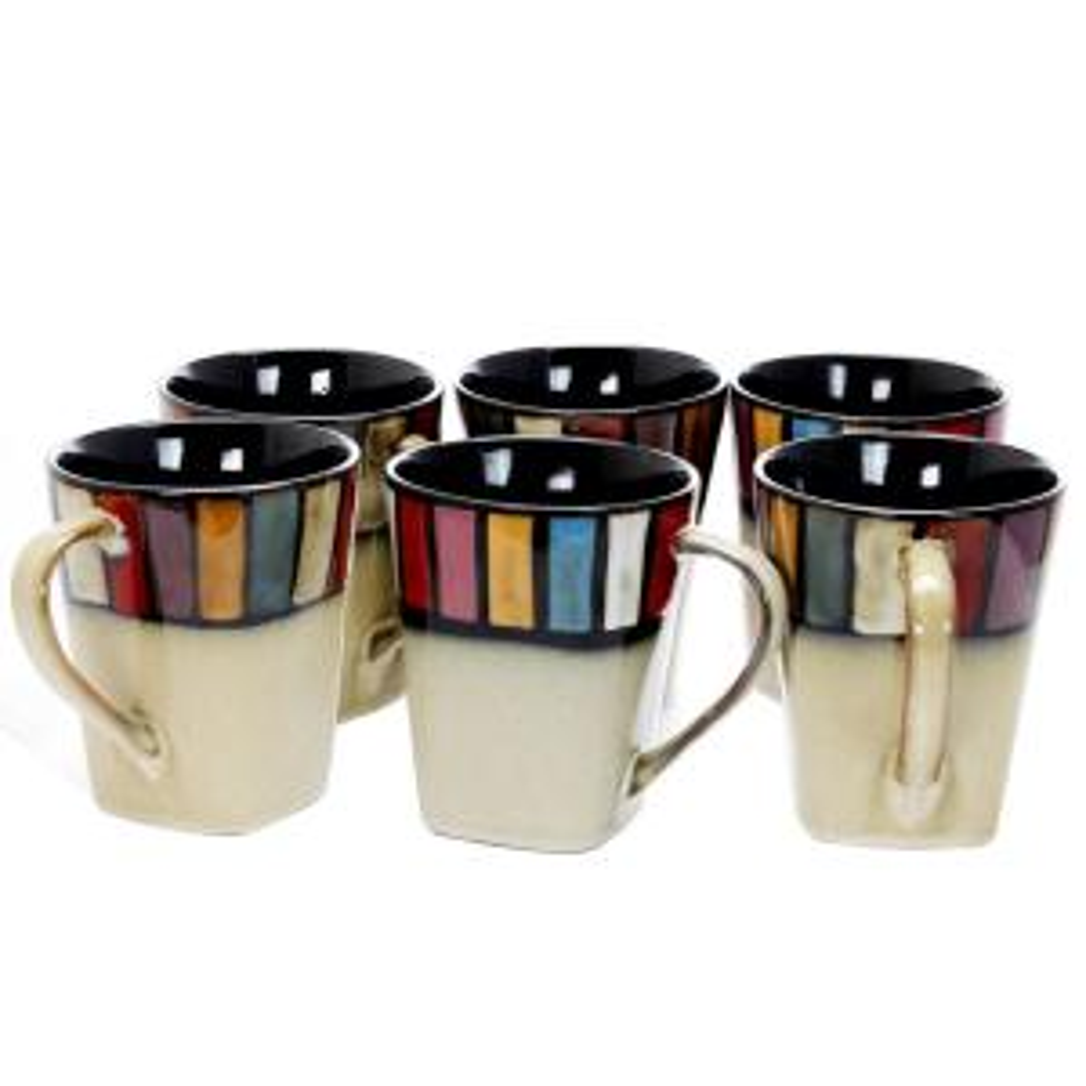 Certified International Corp 22884SET6 Orbit 14 Oz Mugs Red Set of 6
