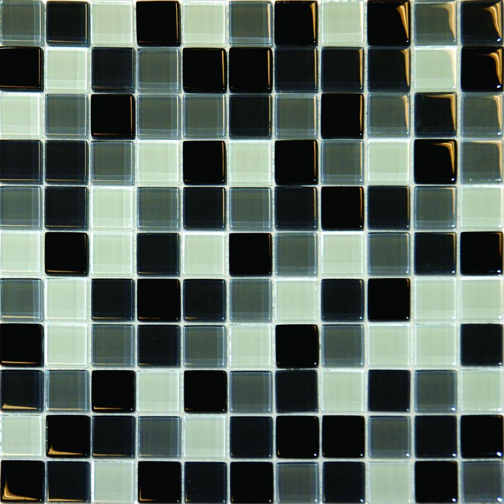 ms international black blend 12 in x 12 in x 8 mm glass mesh mounted mosaic tile thdw1 sh. Black Bedroom Furniture Sets. Home Design Ideas