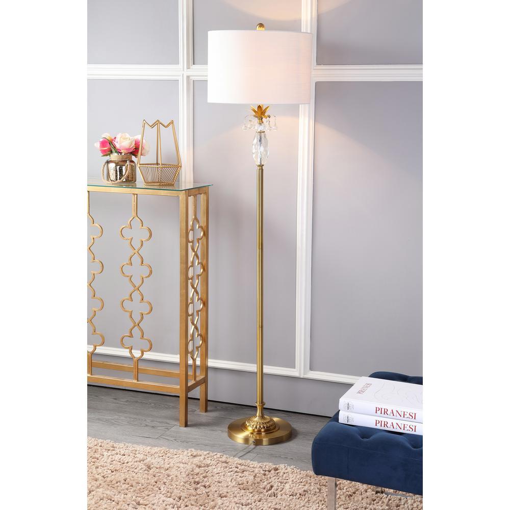 Adalyn 61 in. Clear/Brass Gold Crystal/Metal Floor Lamp