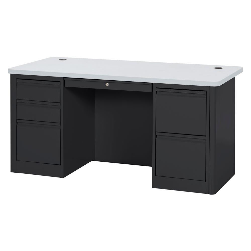 29.5 in. H x 60 in. W x 30 in. D 900 Series Double Pedestal Heavy Duty Teachers Desk in Black/Grey Nebula