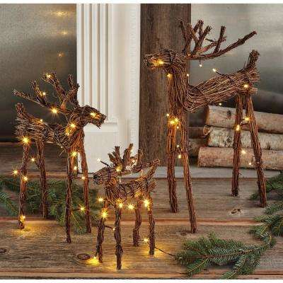 22 in., 16 in., 12 in., Woodland Vine Reindeer with LED Lights