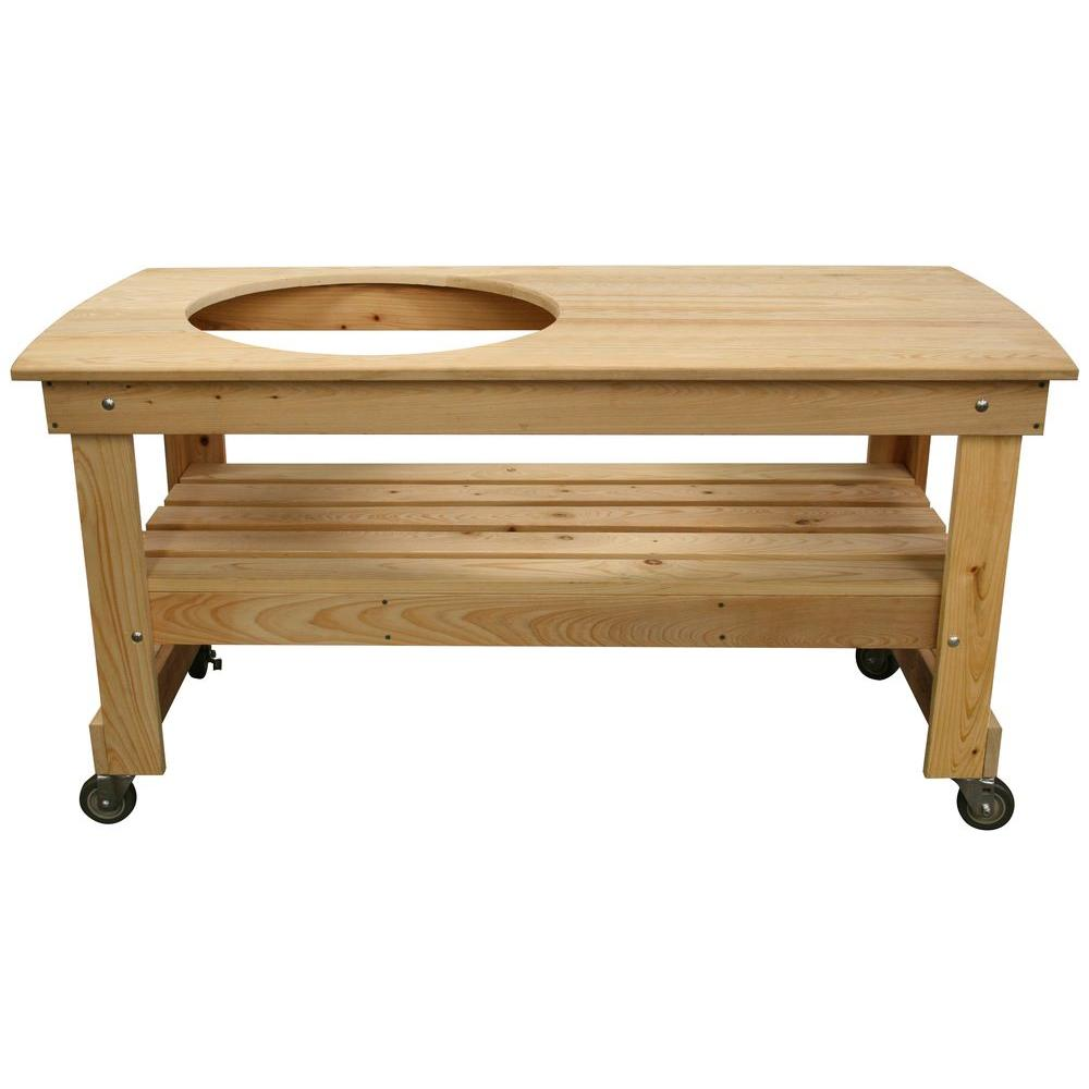 Genial Vision Grills Large Cypress Wood Kamado Table With Offset