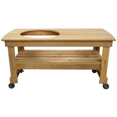 Large Cypress Wood Kamado Table with Offset