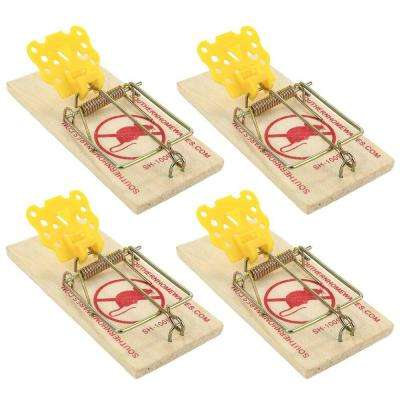 Cheese Shaped Plastic Trigger Wooden Snap Mouse Trap (4-Pack)