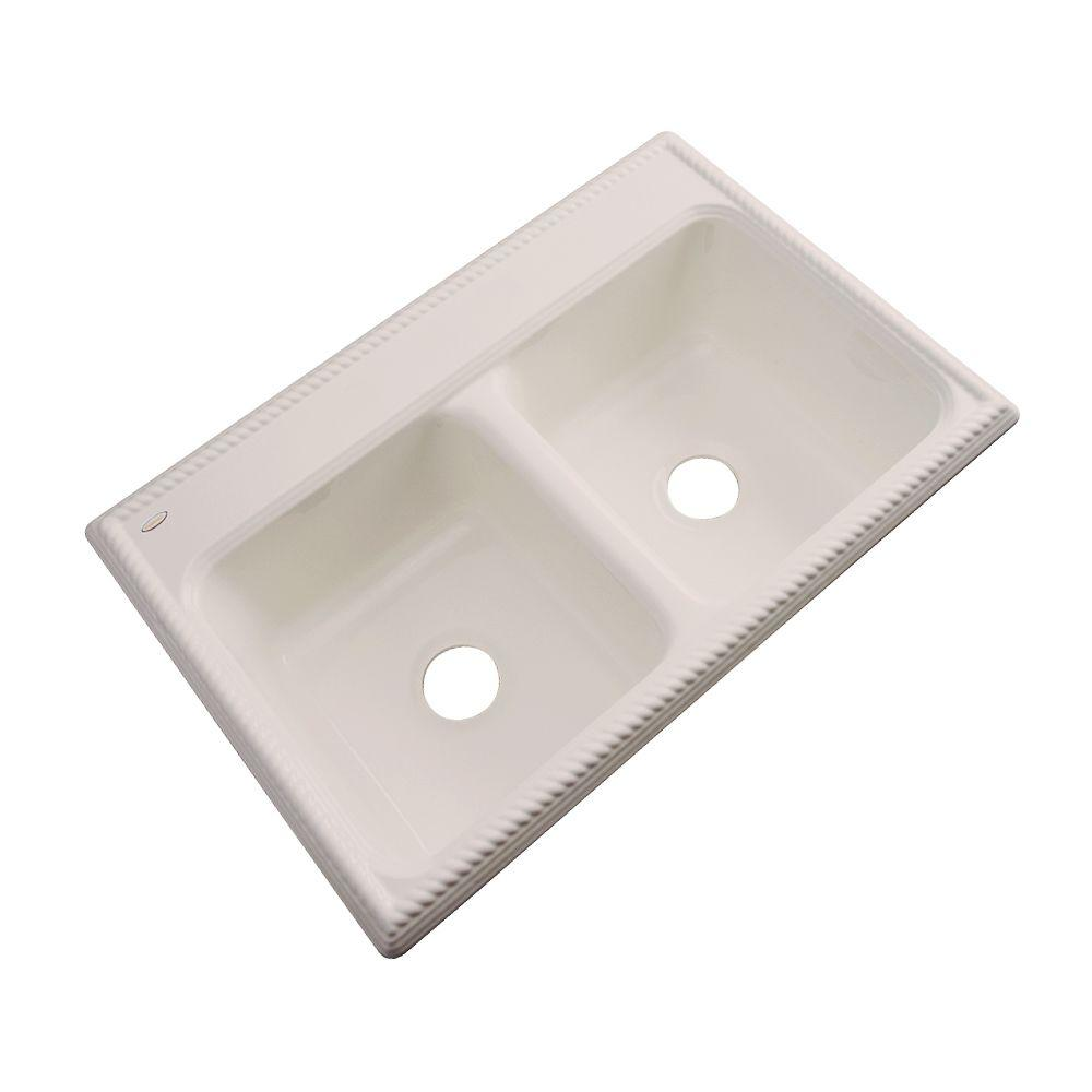 Seabrook Drop-In Acrylic 33 in. Double Bowl Kitchen Sink in Desert