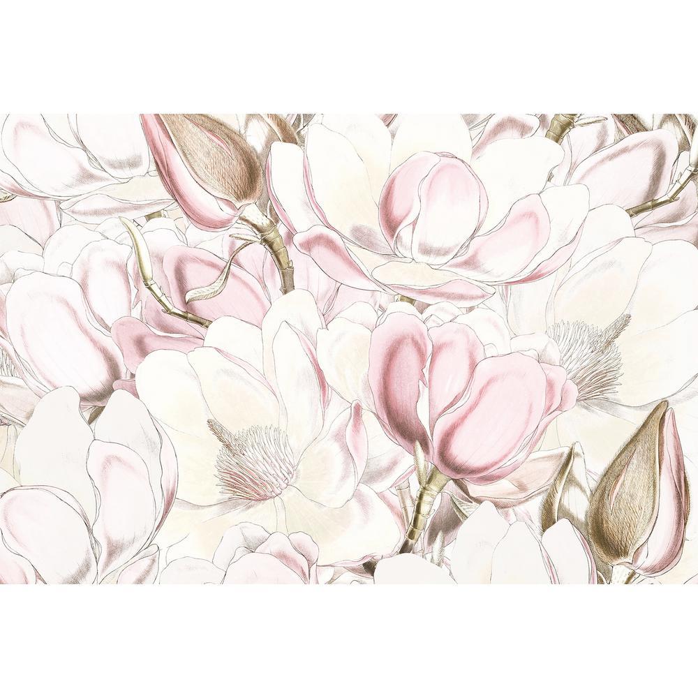 98 in. x 145 in. Pink Petals Wall Mural