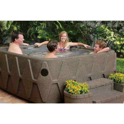 Premium 500 5-Person Plug and Play Hot Tub with 29 Stainless Jets, Heater, Ozone and LED Waterfall in Brownstone