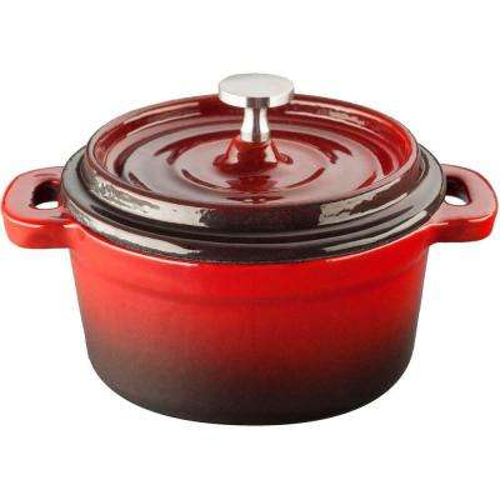 4 in. Cast Iron Mini Round Casserole in Red