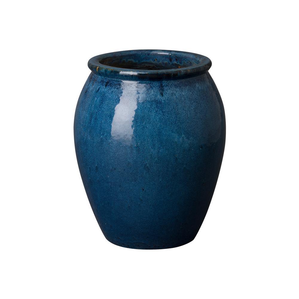 16 in. Dia Quin Blue Ceramic Round Lip Planter
