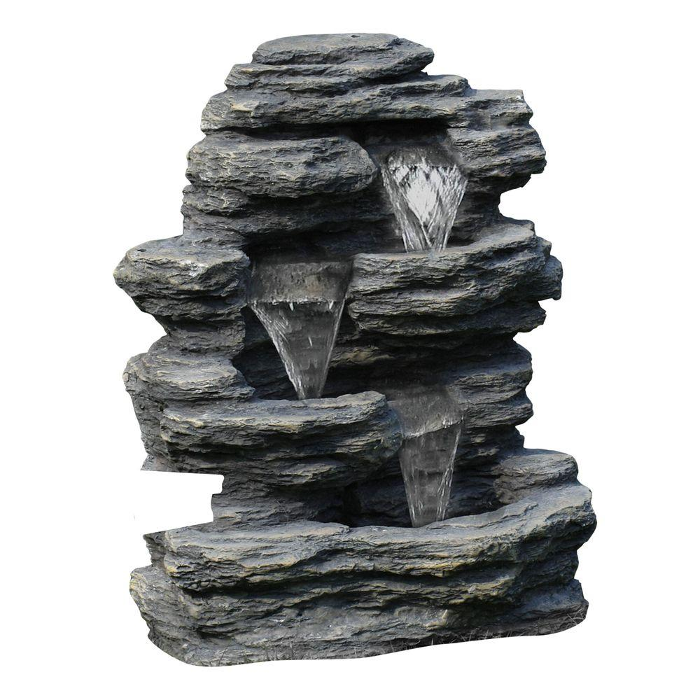 Pure Garden 23 In. Cascade Rock Outdoor Fountain 50 0001   The Home Depot