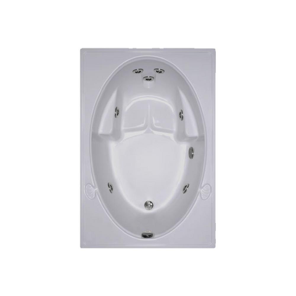 60 in. Rectangular Drop-in Whirlpool Bathtub in Biscuit