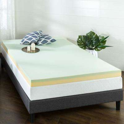 4 in. Green Tea Queen Short Memory Foam Mattress Topper