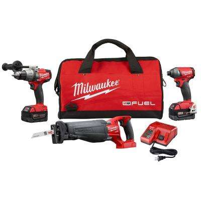 M18 FUEL 18-Volt Lithium-Ion Brushless Cordless Hammer Drill/Impact Driver/Sawzall Combo Kit (3-Tool)
