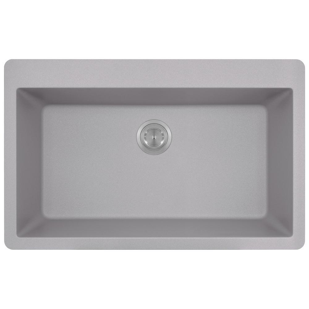 Drop-in Composite Granite 33 in. Single Bowl Kitchen Sink