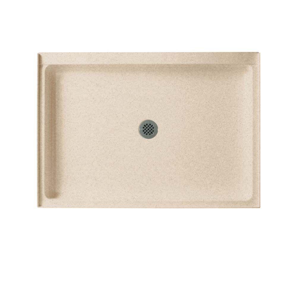 Swan 34 in. x 42 in. Solid Surface Single Threshold Center Drain Shower Pan in Bermuda Sand