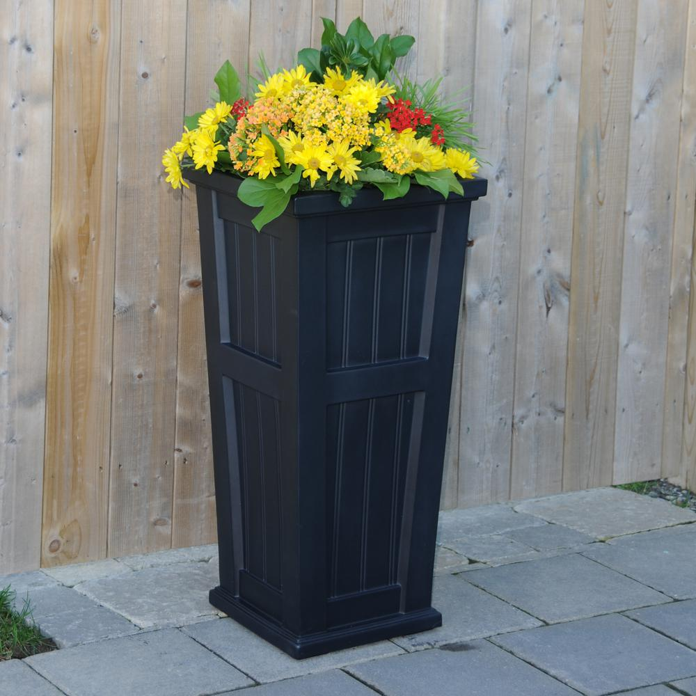 Mayne Cape Cod 15-1/2 in. Square Black Plastic Column Planter