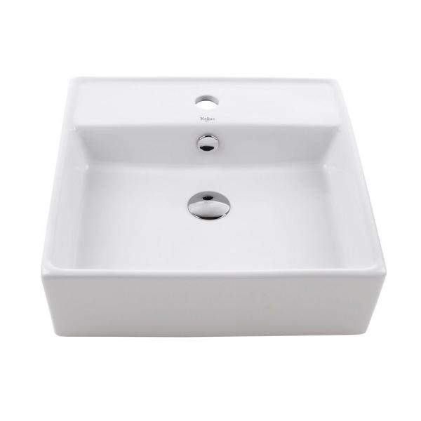 Kraus Square Ceramic Vessel Bathroom Sink With Overflow In White And Pop Up Drain In Chrome Kcv 150 Ch The Home Depot