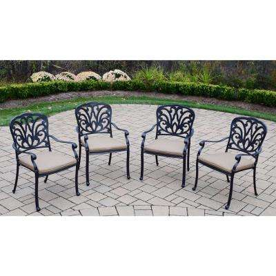 Hampton Aluminum 4-Piece Outdoor Bistro Set with Sunbrella Beige Cushions