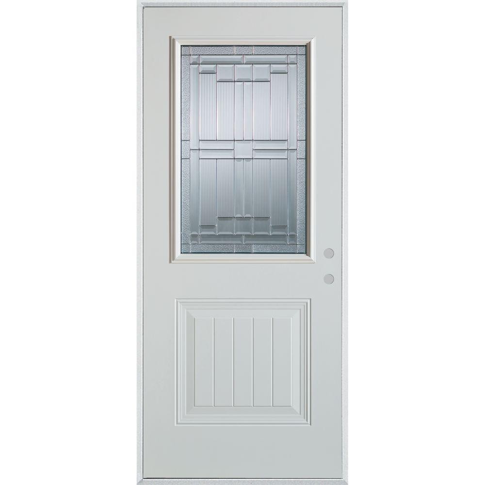 Stanley Doors 33.375 in. x 82.375 in. Architectural 1/2 Lite 1-Panel Painted White Left-Hand Inswing Steel Prehung Front Door