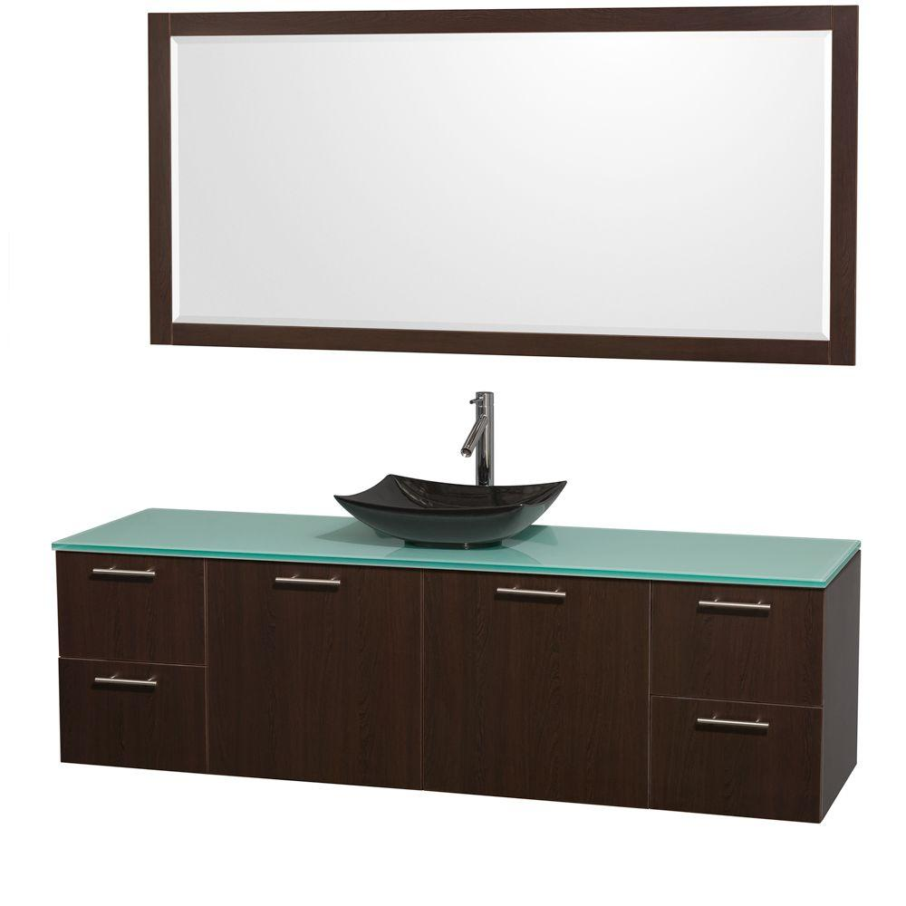 Wyndham Collection Amare 72 in. Vanity in Espresso with Glass Vanity Top in Green, Granite Sink and 70 in. Mirror