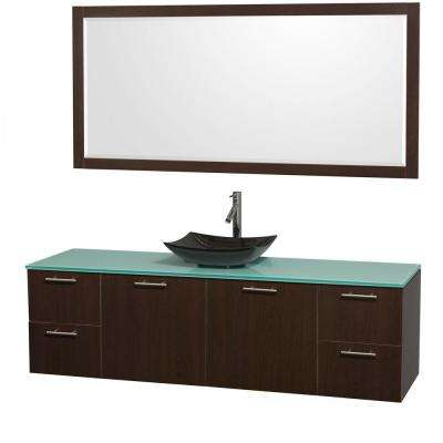 Amare 72 in. Vanity in Espresso with Glass Vanity Top in Green, Granite Sink and 70 in. Mirror