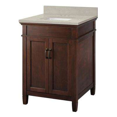 Ashburn 25 in. W x 22 in. D Vanity Cabinet in Mahogany with Engineered Quartz Vanity Top in Stoneybrook with White Sink