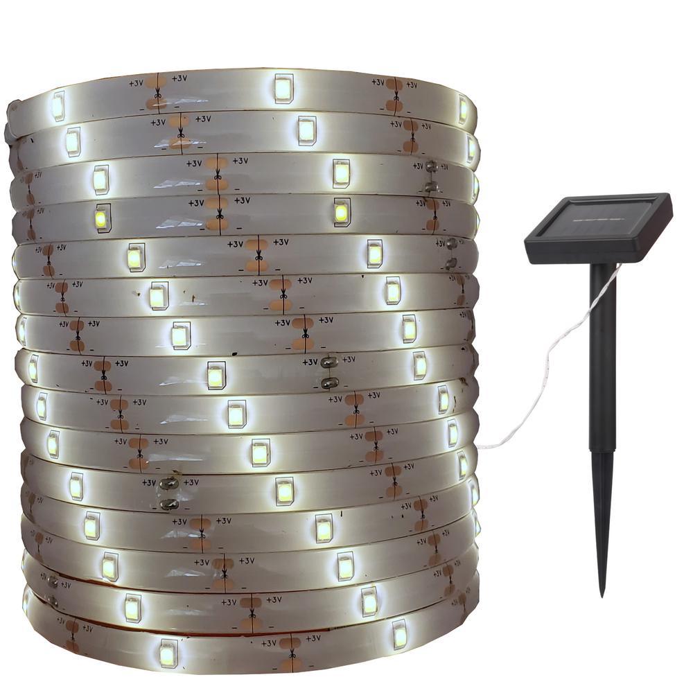 Outdoor 16 ft. Solar Copper Warm White Tape Light Novelty Bulb LED String Light with on or Flashing Settings