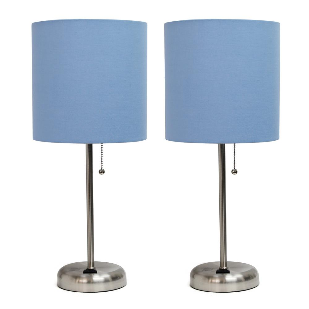 19.5 in. Brushed Steel and Blue Stick Lamp with Charging Outlet and Fabric Shade (2-Pack)