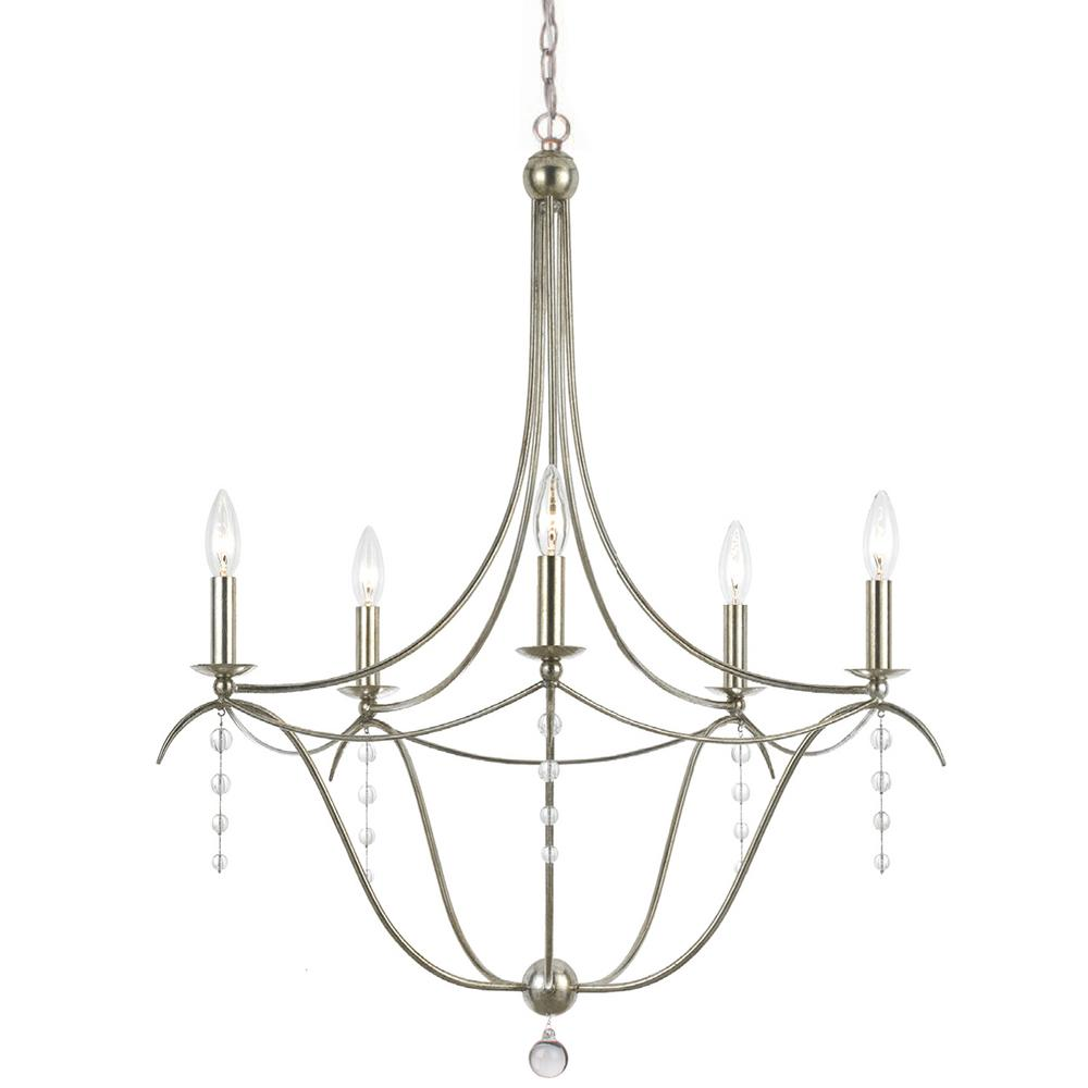 5 light antique silver chandelier 435 sa the home depot 5 light antique silver chandelier mozeypictures Image collections