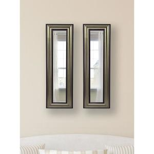 15 inch x 39.5 inch Antique Silver Vanity Mirror (Set of 2-Panels) by