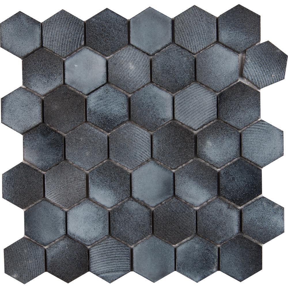 MSI Vetro Hexagon 12 in. x 12 in. x 10mm Basalt Mesh-Mounted Mosaic Tile