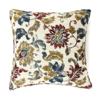 Flora 18 in. Contemporary Standard Throw Pillow in Multicolor, Floral