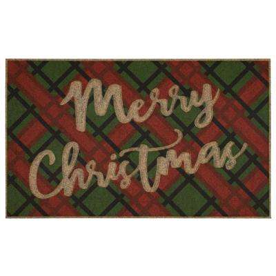 Christmas Tartan 18 in. x 30 in. Impressions Door Mat