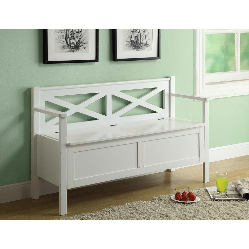Monarch Specialties 50 in. L Solid Wood Bench with Storage in White