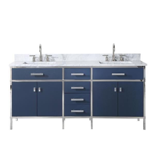 Marquis 72 in. W x 22 in. D Vanity in Monarch Blue with Marble Top in White with White Basin