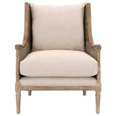 Beige and Brown Wooden Club Chair with Linen Upholstery