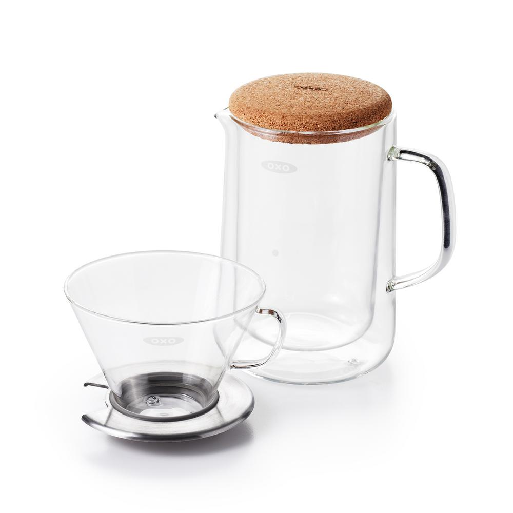 OXO OXO Good Grips 3-Cup Glass Pour-Over Coffee Maker Set, Clear Glass