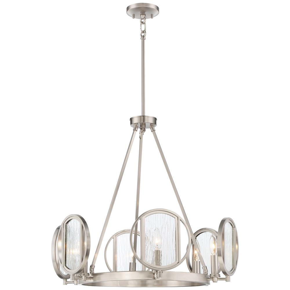 Urban Industrial Double Ring Chandelier: Talista 6-Light Brushed Nickel Chandelier With Satin Opal