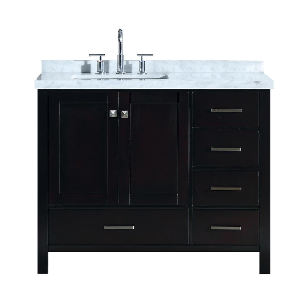 Cambridge 43 in. Bath Vanity in Espresso with Marble Vanity Top