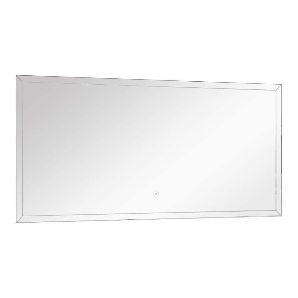 Finn 47.24 in. W x 21.65 in. H Frameless Rectangular LED Light Bathroom Vanity Mirror in Silver