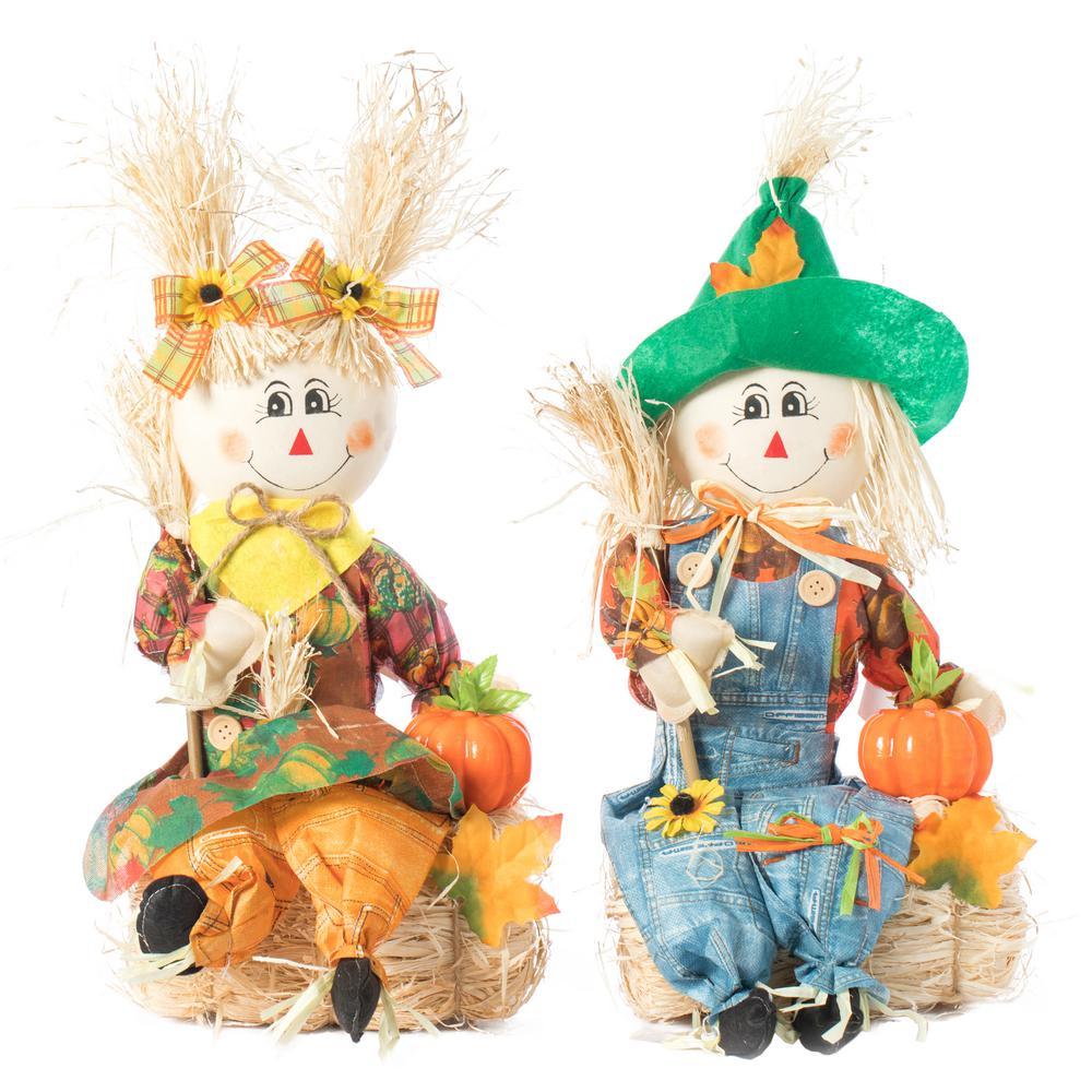 Garden Scarecrows Boy and Girl (Set of 2)