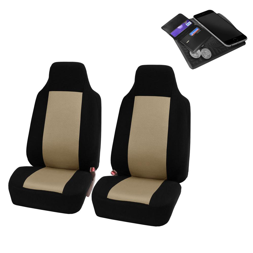 FH Group Sandwich Fabric 47 in. x 23 in. x 1 in. Half Set Front Car Seat  Covers